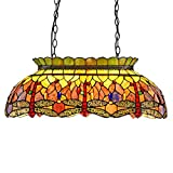 Capulina Tiffany Pool Table Light, 3 Lights for Pool Table, 27.6 inch lampshade Pool Lights, Tiffany Style Kitchen Lights, Dragonfly Design Pool Lamps, Billiards Lights for Table Game Room, Cave Club