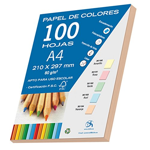 Dohe 30194 - Pack de 100 papeles A4, 80 g, color naranja pastel