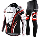 sponeed Men's Cycling Jersey Long Sleeve Full Zipper Bike Jersey Pants Bicycle Riding Clothing Asia L/US M White-red