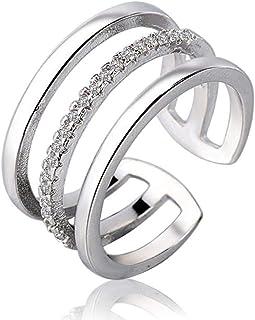Lozse Anelli regolabili Aprire placcatura in argento diamante anello anti allergia anello regalo di compleanno per gli ami...