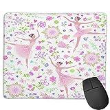 Benutzerdefinierte Office-Mauspad,Weinlese-tanzende Ballerinas auf einem Blumen, Anti-Rutsch-Gummibasis Gaming Mouse Pad Mat Desk Decor 9.5 'x 7.9'