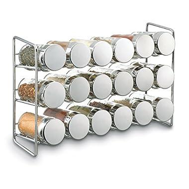 Polder 5429-05 Compact 18-Jar Spice Rack, 11.625  x 3.375  x 7.5 , Chrome