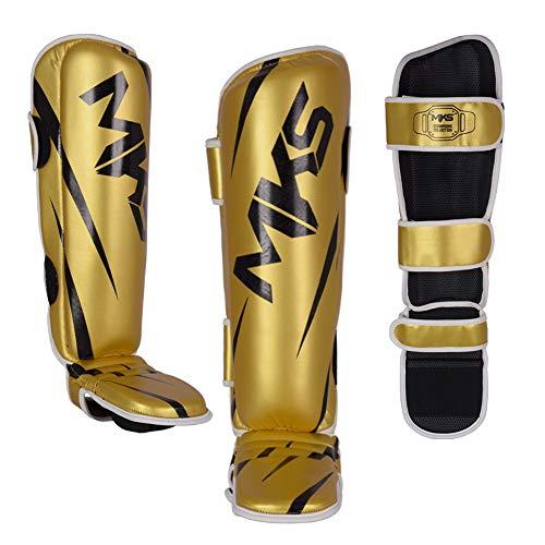 Caneleira de Muay Thai e Kickboxing MKS Champions V3 Dourado/Preto (P)