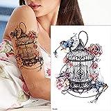 Handaxian 3pcs Etiqueta engomada del Tatuaje Tatuaje Duradero Tatuaje de Pavo Real Acuarela Mujer Tatuaje 3pcs-7