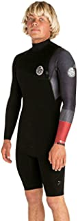 Rip Curl Mens E-Bomb 2mm Zip Free Long Sleeve Shorty Wetsuit Black - Easy Stretch