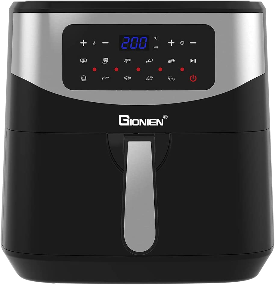 GIONIEN GKDF579 Air Fryer 8 Quart Ft. Extra Large Capacity Counter-Top Multi-Function Intelligent Convection Steam Oven Air Fryer, Oven, Yogurt Maker, Dehydrator & DIY Mode
