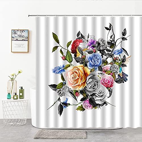 XCBN Cortinas de Ducha de Flores Coloridas Planta Azul Flor púrpura Hoja Girasol Amarillo decoración de baño para el hogar Cortina A3 180x180cm