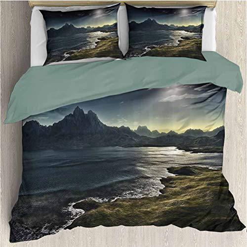 Waynekeysl Fantasy House Duvet Cover Set, of Dark Fantasy Landscape with Sunbeams Over Ocean Seacoast Cliff Mountain, Decorative 3 Piece Bedding Set with 2 Pillow Shams, Twin Size, Navy Green