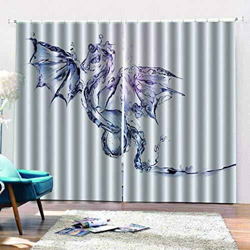 QRTQ 3D Printed Gordijnen polyester vezel de triple weven technologie Kleine Dinosaur Met vleugels Digitale Gedrukte Gordijnen Kwekerij Woonkamer Sound Isolatie Decoratieve Gordijn 150X166Cm