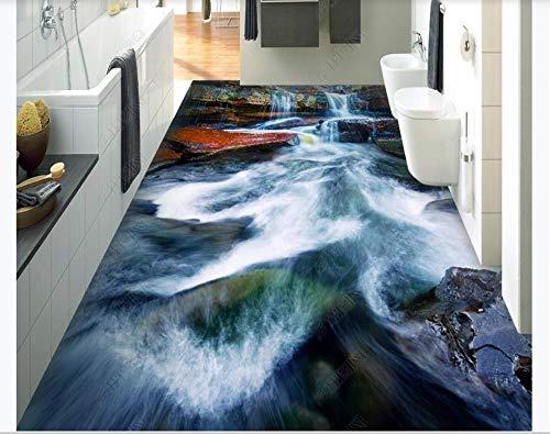 Papel pintado de paisaje de suelo 3D Baldosas de suelo de cascada de río 3D para dormitorio Baño Foto personalizada Mural autoadhesivo Papel de pared-200 * 140cm