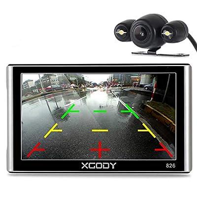 Xgody 16GB (8GB ROM + 8GB TF Card) 826BT Car Truck GPS Navigation System 7 Inch Capacitive Touchscreen SAT NAV Navigator Lifetime Maps Update Speed Limit Displays with Sunshade