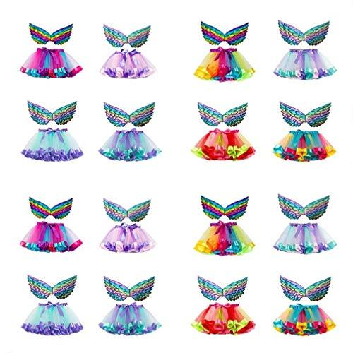 Snakell Kinder Mädchen Tütü Kinder Mädchen Tüllrock Mädchen Tanzrock Tüllrock- 2-teiliges Mädchen Tutu und Flügel Set Schmetterlingsflügel Geburtstag Geschenk Party Outfits (2-11Jahre)