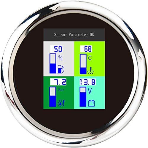 no-branded Kraftstoffanzeige 4 in 1 Auto Marine-Multifunktionsmessgeräte Voltmeter 9~32V Kraftstoffstand Wassertemperatur Öldruck 10 Bar CGFEUR (Color : BS, Size : Kostenlos)