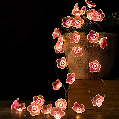 XIEJ Cherry Blossoms String Lights for Indoor Outdoor, 2M 20 LED Waterproof Pink String Lights, Battery Powered Fairy String Lights for Girl Bedroom Home Spring Wedding Party