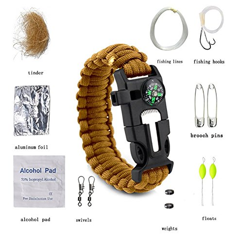 ZENDY 14 en 1 / Corde New Paracord Multi Fonction kit de Survie en Plein air (7 brins Cordon) (Bleu Marin)
