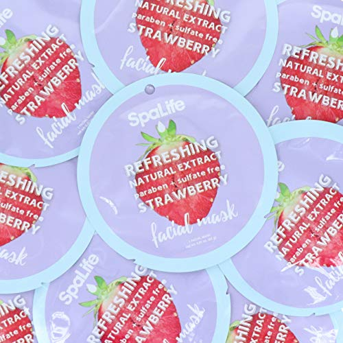 Spa Life Refreshing Strawberry Natural Extract Facial Mask 10 Count