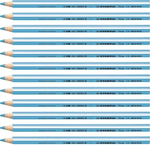 Matita colorata triangolare - STABILO Trio thick - Confezione da 12 - Blu Cielo