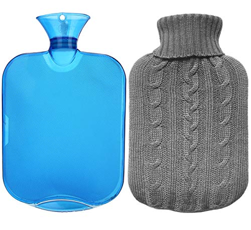 Model 2020 PVC hot Water Bottle 2 liters with high-Quality Supersoft Synthetic Fur Cover ice Blue with Zipper