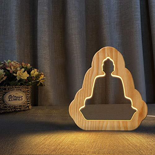 Buddha Cross Music Kaktusbaum Obst Conch Figur Holz 3D LED Nachtlicht Warmweiß Neuheit Kinder Schlafzimmer Dekoration Geschenk Licht