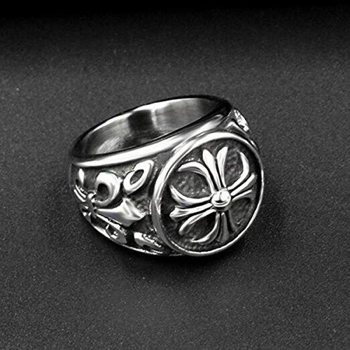 『ZAKAKA 指輪 メンズ リング ファッション アクセサリー (銀色, 24)』の4枚目の画像