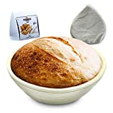 TIDUDUS 9 inch Round Banneton Proofing Basket With Linen Liner, Natural Rattan Bread Bowls For...