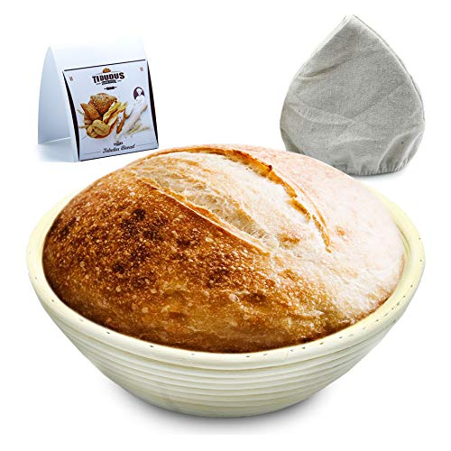 TIDUDUS Round Banneton Proofing Basket With Linen Liner, Natural 9 inch Rattan Bread Bowls For Baking Sourdough Bread