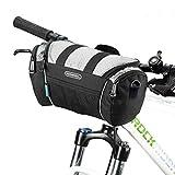 自転車フロントバッグ ROSWHEEL ハンドルバーバッグ 自転車用バッグリアバッグ フレームバッグ 簡単装着 収納力抜群 可能 (シルバー)
