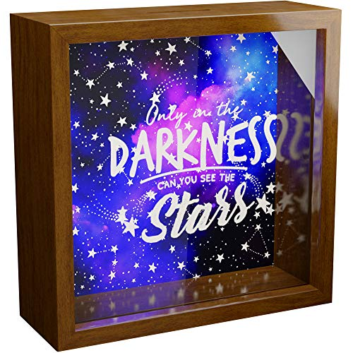 Outer Space Wall Decor Gifts | Fun 6x6x2 Astronomy Themed Shadow Box with Glass Front | Wooden Keepsake for Galaxy Lovers | Moon and Planets Framed Decorations for Room