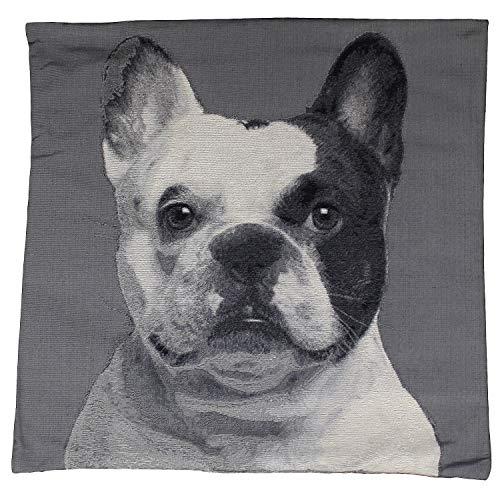 MACOSA CL039004 Kissenhülle Hund 60 x 60 cm Grau Weiß mit Reißverschluss ohne Füllung Sofakissen Dekokissen Kissenbezug Zierkissen-Bezug Dog Motiv