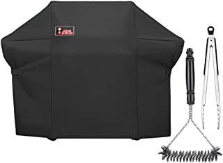 Kingkong 7108 Premium Grill Cover for Weber Summit 400-Series Gas Grills (Compared to The Weber 7108 Grill Cover) Including Grill Brush and Tongs