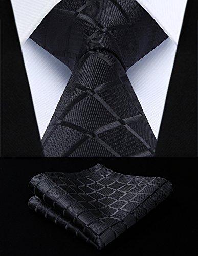 HISDERN Dai un'occhiata Cravatta da sposa Fazzoletto Cravatta da uomo & Pocket Square Set nero