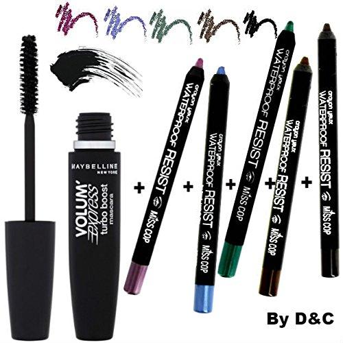 Kit/Set Mascara Gemey Maybeline Turbo Volum' Express Noir + 5 Crayons Yeux Waterproof De Couleur Inclus Miss Cop (NOIR-BRUN-BLEU-VERT-VIOLET)