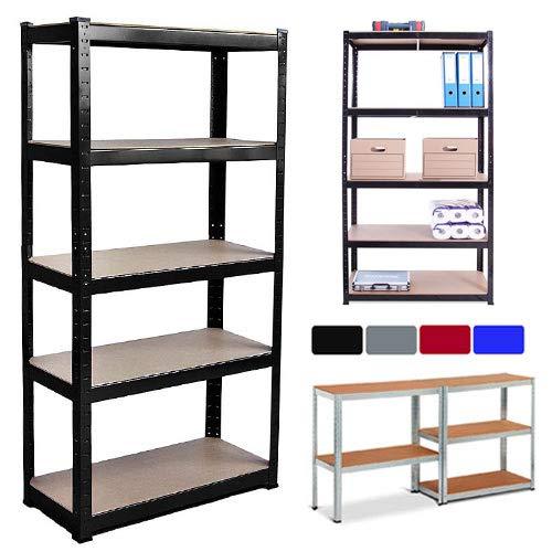 150//180CM 5 Tier Garage Black Shelving Unit Metal Racking Boltless Storage Shelf