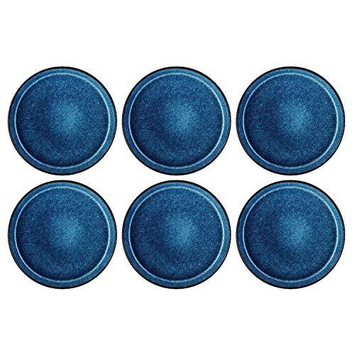 BITZ 821253 Dia Speiseteller, Ø 27 cm, Steinzeug, handgearbeitet, schwarz/dunkelblau (6er Pack)