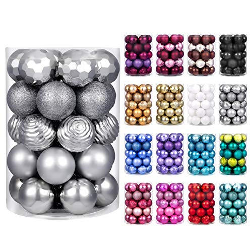 "XmasExp 60mm/2.36"" Christmas Ball Ornaments Shatterproof Christmas Ornaments Set Decorations for Xmas Tree Balls - 34ct (2.36'', Silver)"