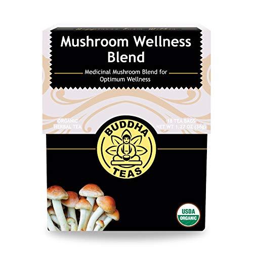Buddha Teas Organic Mushroom Wellness Blend Tea 18 Tea Bags Made in the USA