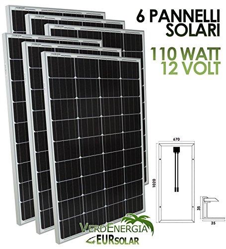 Kit di 6 Pannelli Solari 100W Modulo Fotovoltaico Policristallino 12V 6PZ*100W per Camper Barca Baita EurSolar
