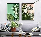 Rudxa Green Plant Prints Picture Wall Art Pintura de Lienzo Decoración para Sala de estar-50x70cmx2 sin Marco