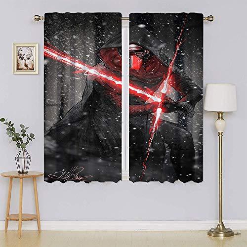 Kylo Ren - Cortinas opacas de Star Wars, filtrado de luz, cortinas de privacidad para el pasillo de 42 x 54 pulgadas