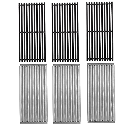 BBQ Future 3 Pack Cast Iron Grill Grate and Stainless Steel Emitter Kit for Charbroil 463242516, 463242515, 466242515, 466242615, 463243016, 463367516, 463367016, 466242516, 466242616, 463346017