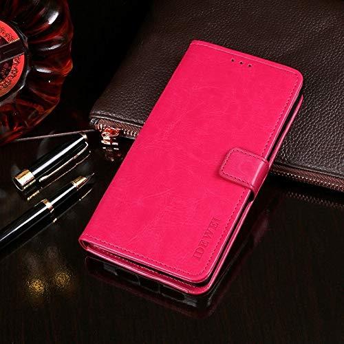 KONGX Caso de ipan Caballo Loco Textura Horizontal del Cuero del tirón con el sostenedor y Ranuras for Tarjetas y Monedero (Color : Rose Red)