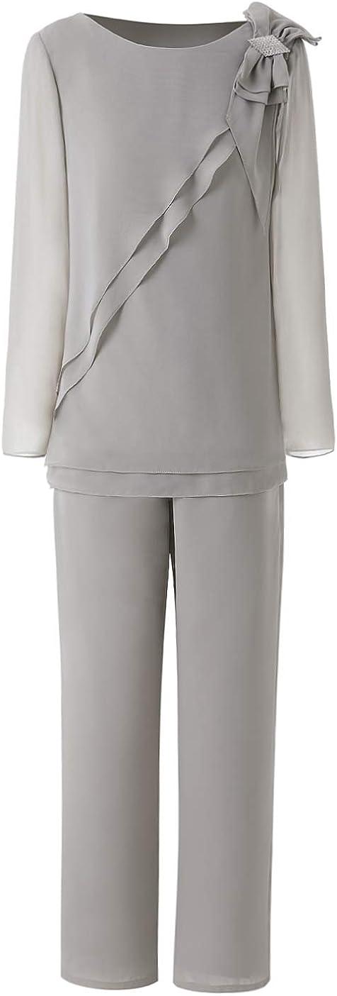 Women's 2 Pieces Elegant Ruffles Flower Chiffon Mother of Bride Dress Pants Suit for Wedding