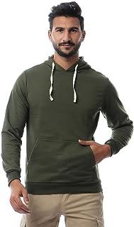 Andora Basic Ribbed Trim Kangaroo Pocket Cotton Drawstring Hoodie for Men
