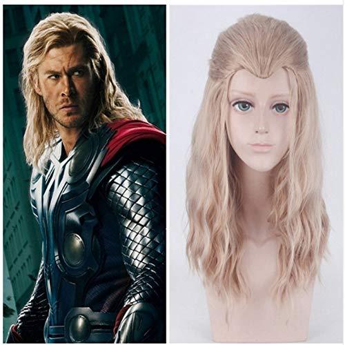 GHK Avengers Leeftijd van Ultron Thor Odinson Mix Blonde Krullend Cosplay Pruik Synthetisch Haar Halloween Kostuum Party Speel Pruiken Props