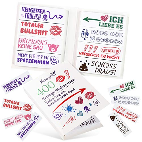 Koogel 400 Blätter Lustige Haftnotizen, Bunte Wizige Klebezettel für Studenten Schule Studium mit 8 Designs Sprüchen als Büro Gadgets zum Markieren und Geschenk Idee