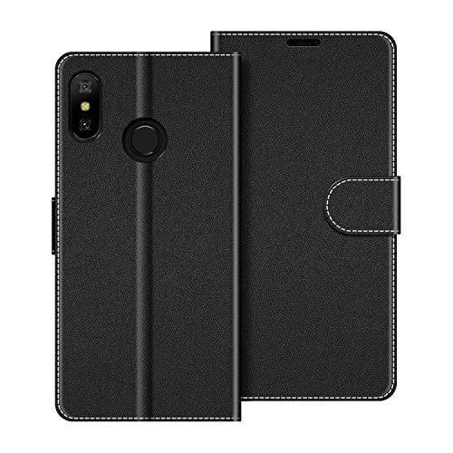 COODIO Handyhülle für Xiaomi Mi A2 Lite Handy Hülle, Xiaomi Mi A2 Lite Hülle Leder Handytasche für Xiaomi Mi A2 Lite Klapphülle Tasche, Schwarz