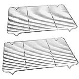 TeamFar - Set di 2 griglie a griglia in acciaio inox per forno, arrosto, grigliate, 42,2 x...