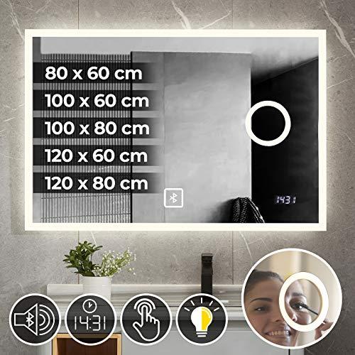 Jago Badspiegel mit LED Beleuchtung - Energieklasse A++, Touchschalter, dimmbar (Kaltweiß/Warmweiß), Digitaluhr, Größen-und Modelleauswahl - Badezimmerspiegel, Wandspiegel (Ohne Zubehör, 120 x 60 cm)