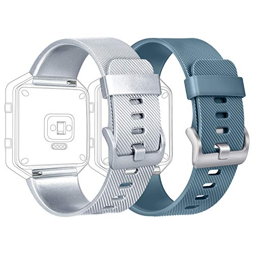 Tobfit - Correa compatible con Fitbit Blaze, silicona, ajustable. Correa compatible con Fitbit Blaze. Tamaños:pequeño y grande para mujeres y hombres., color 2-pack Slate+Silver