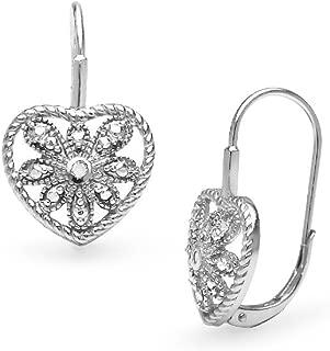 Sterling Silver Heart Filigree Flower Diamond Accent Leverback Drop Earrings, IJ-I3